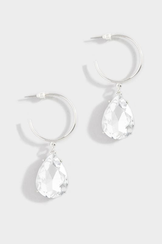 Silver Teardrop Jewel Drop Earrings