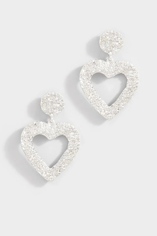Silver Large Textured Heart Drop Earrings