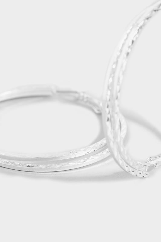 Silver Large Textured Twisted Hoop Earrings