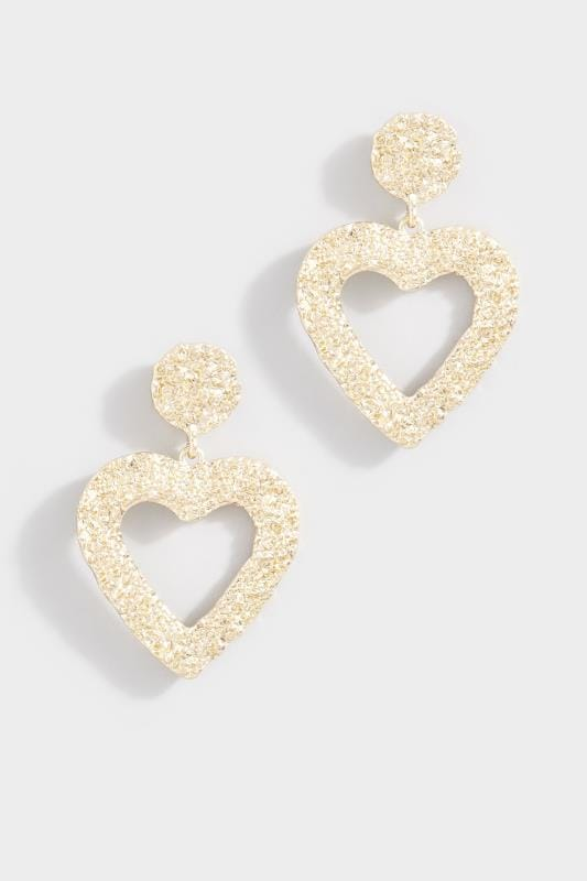 Gold Large Textured Heart Drop Earrings