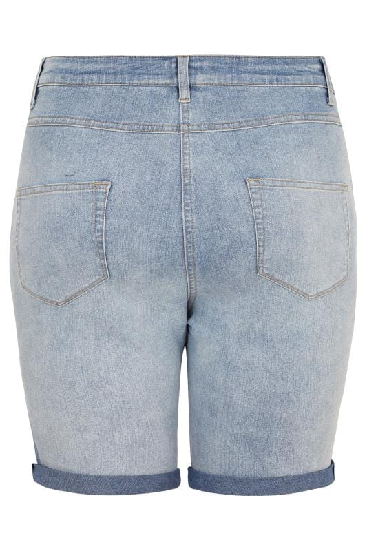 LIMITED COLLECTION Light Blue Bleached Denim Shorts