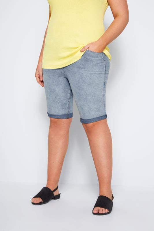 Plus Size Denim Shorts Light Blue Bleached Denim Shorts