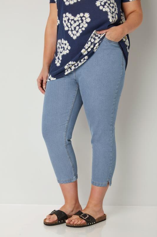 Plus Size Denim Crops Light Blue Cropped Denim Jeans