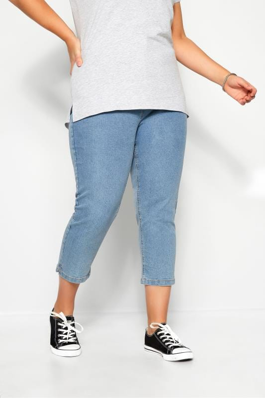 Plus Size Denim Crops Light Blue Cropped Denim Jeans