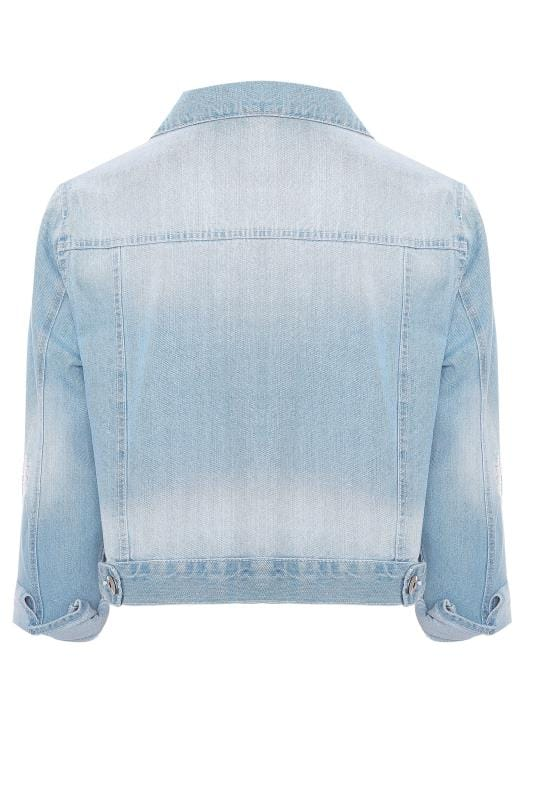 Light Blue Distressed Cropped Denim Jacket