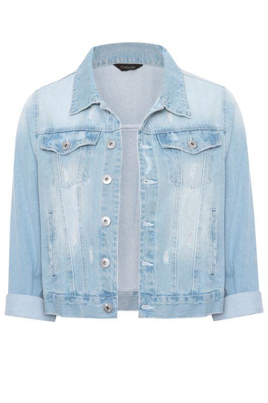 Kurze Jeansjacke - Hellblau verwaschen