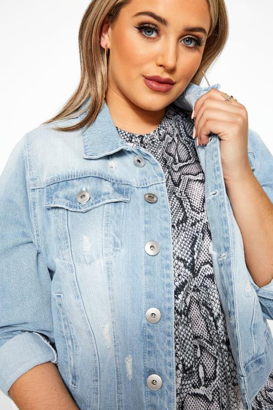 Light Blue Distressed Cropped Denim Jacket | Yours Clothing