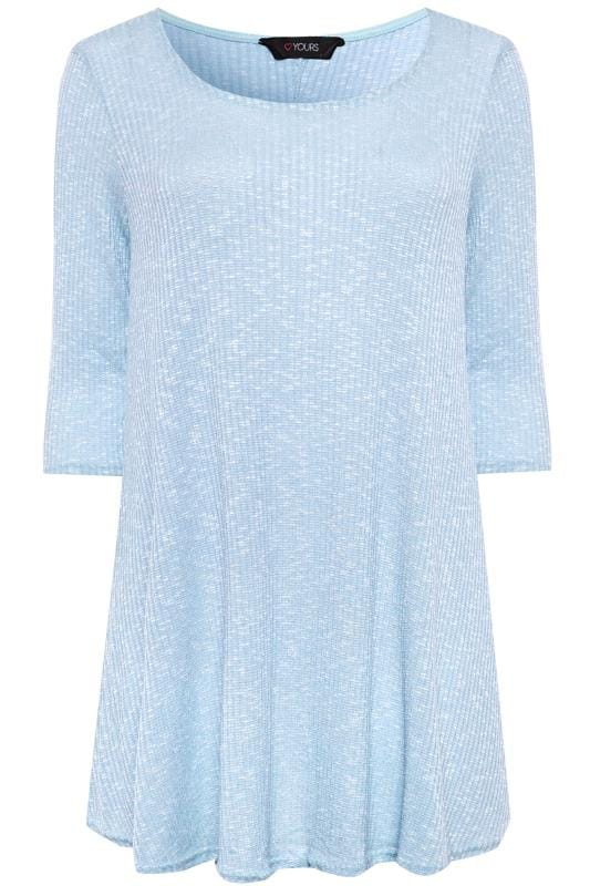 Light Blue Marl Ribbed Tunic Top