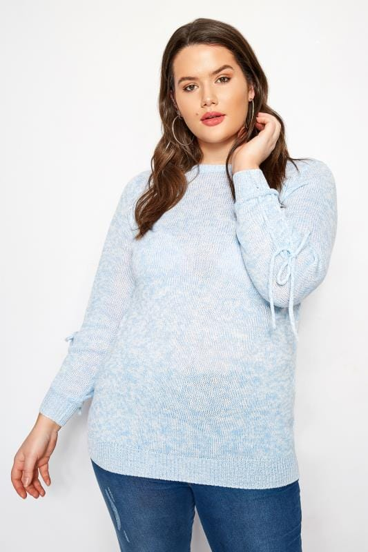 Light Blue Ruched Sleeve Sleeve Lace Jumper