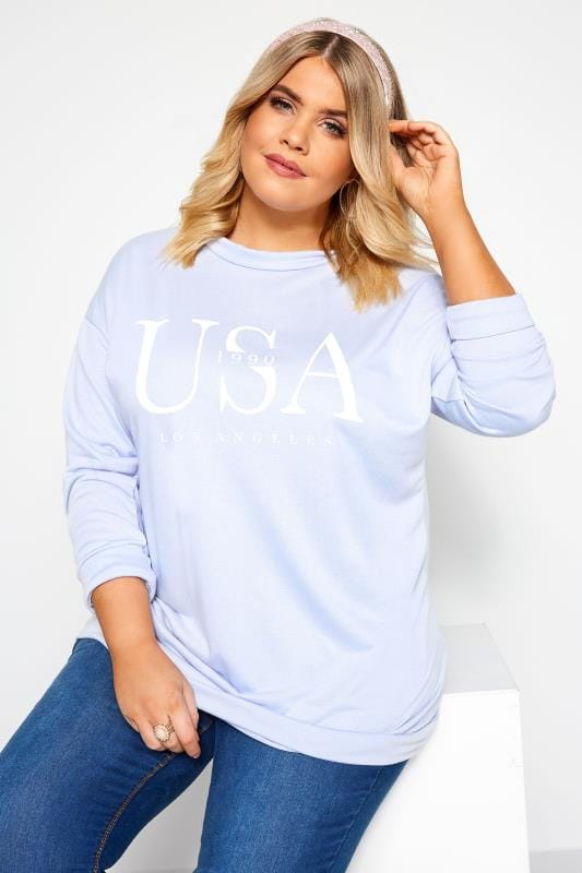 Plus Size Sweatshirts Light Blue USA Slogan Sweatshirt