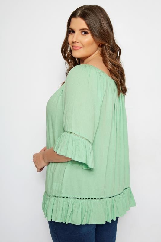 Light Green Gypsy Bardot Top