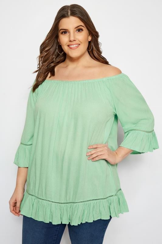 Plus Size Day Tops Light Green Gypsy Bardot Top