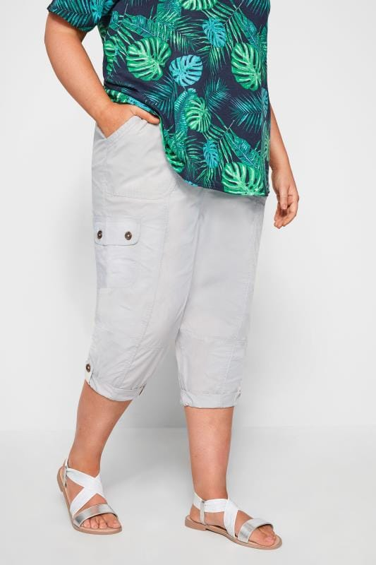 Plus Size Cropped Trousers Light Grey Poplin Cropped Trousers