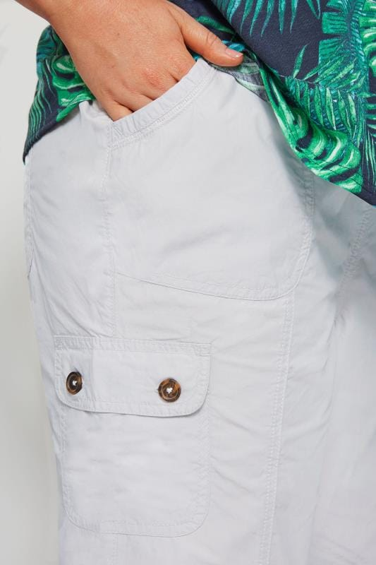 Light Grey Poplin Cropped Trousers