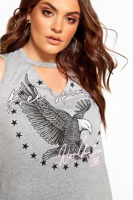 Light Grey Rock Eagle Choker Vest Top
