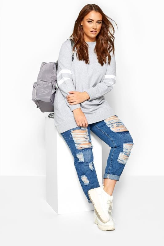 Light Grey Varsity Stripe Sweatshirt