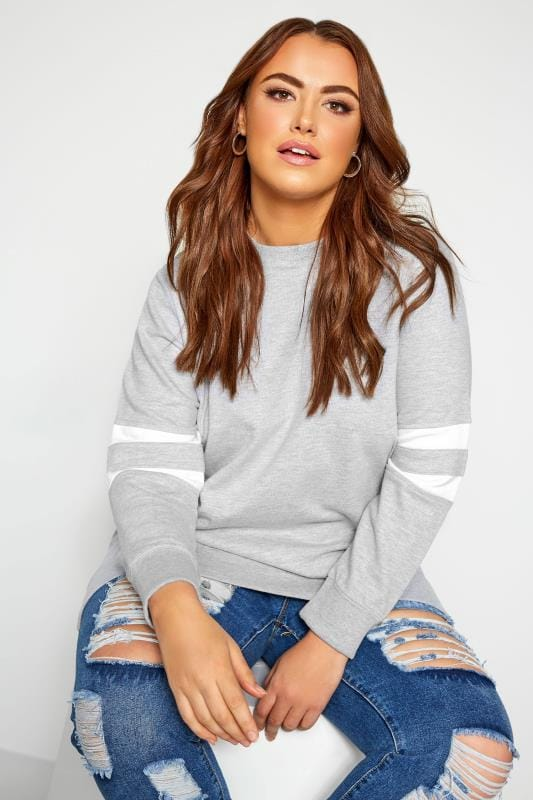 Plus Size Sweatshirts Light Grey Varsity Stripe Sweatshirt