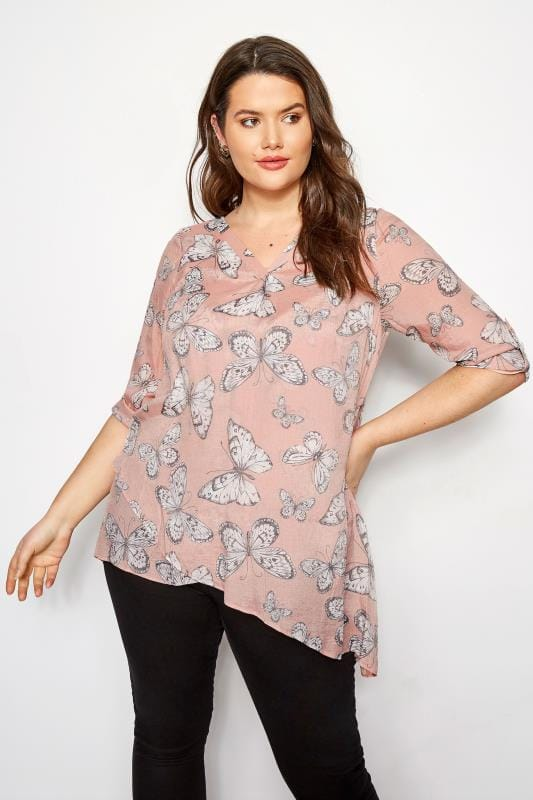 Light Pink Butterfly Layered Blouse With Notch Neck