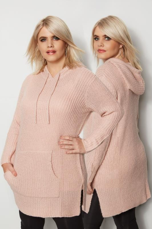 Light Pink Chunky Knit Hoodie