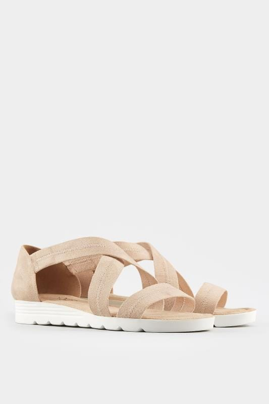 Nude Closed Back Cross Over Sandals In Extra Wide Fit