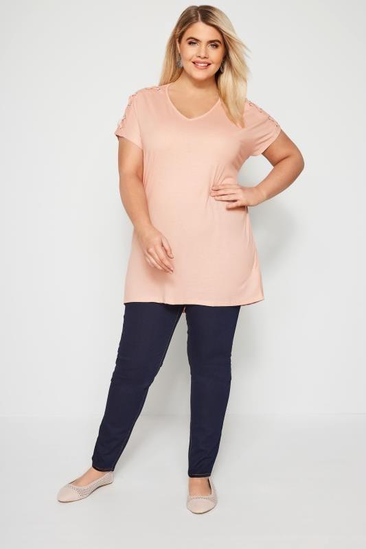 T-Shirt Rose Clair Laçage Épaules