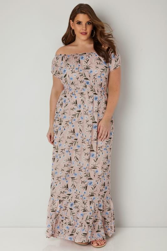 Light Pink Floral Maxi Dress, plus size 16 to 36