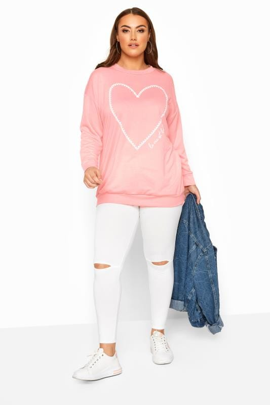 Plus Size Sweatshirts Light Pink Heart Print Sweatshirt