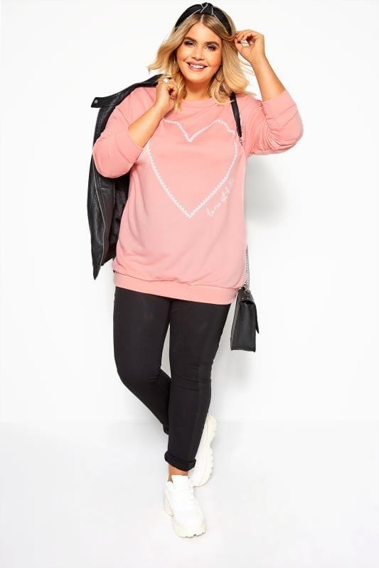 Light Pink Heart Print Sweatshirt