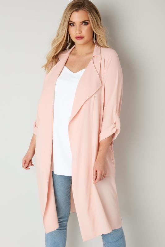 Light Pink Lightweight Duster Jacket With Waterfall Front