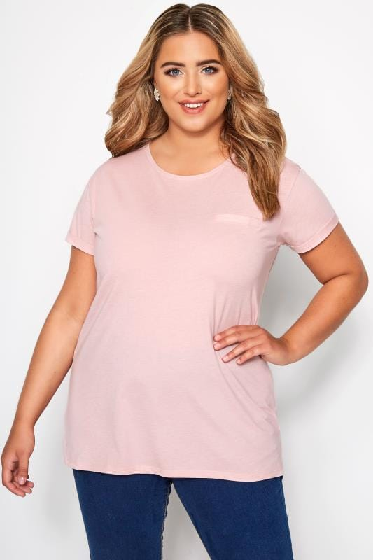 Light Pink Mock Pocket T-Shirt