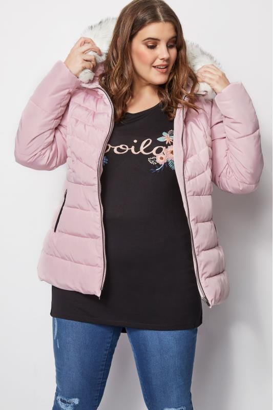 preview of best selection of 2019 volume large Light Pink Puffer Coat With Faux Fur Trim Hood, Plus size 16 ...
