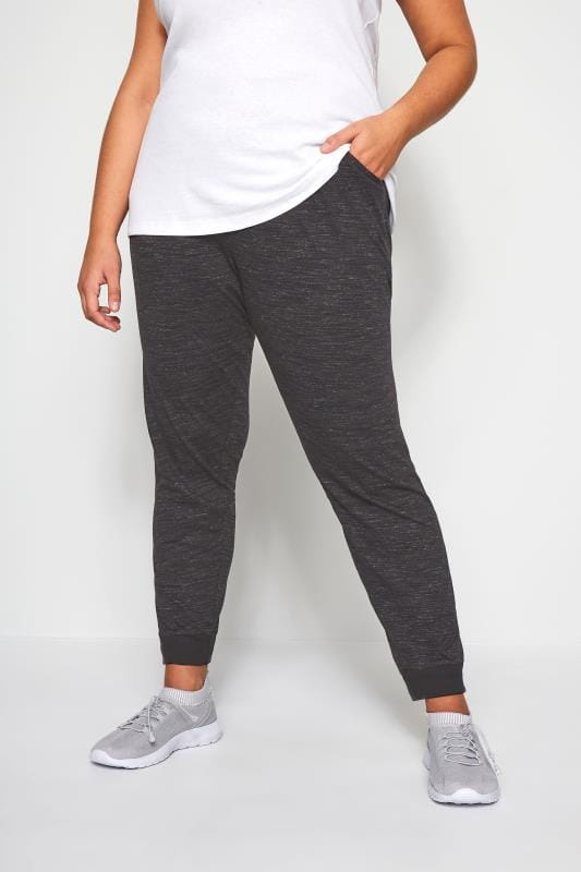 Plus Size Tracksuit Pants Black Marl Lightweight Joggers