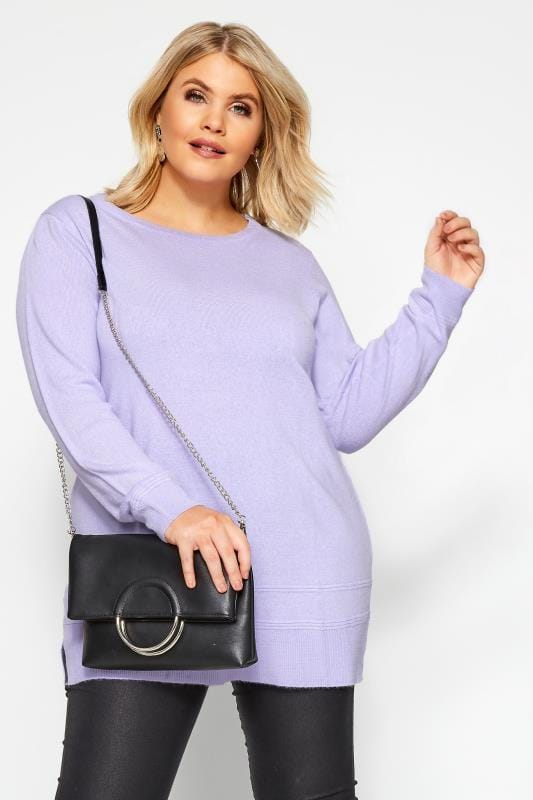 Plus Size Jumpers Lilac Cashmilon Knitted Jumper