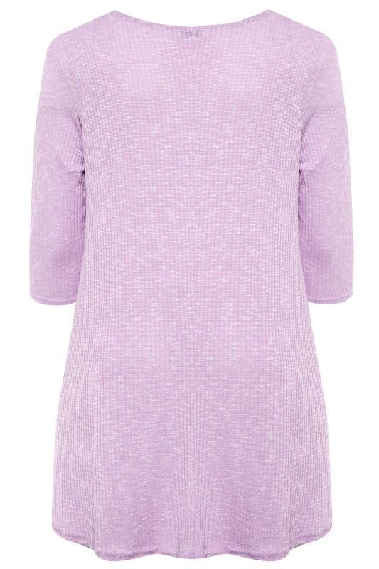 Lilac Marl Ribbed Tunic Top