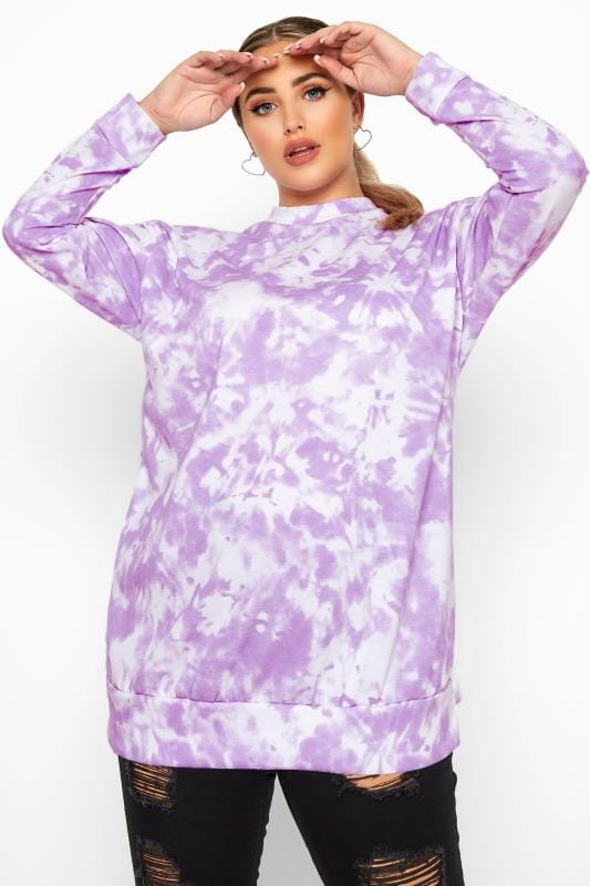 Plus Size Sweatshirts Lilac Tie Dye Sweatshirt