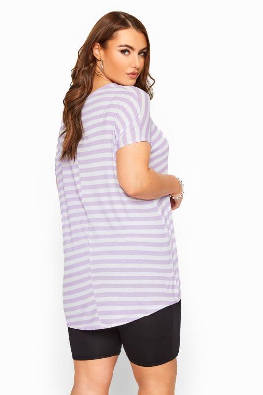 Lilac & White Striped Jersey Top