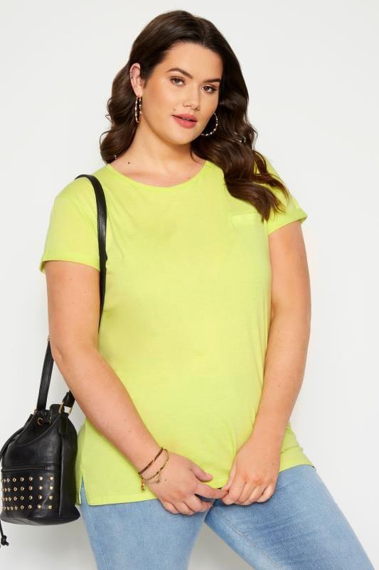 Plus Size T-Shirts Lime Green Mock Pocket T-Shirt