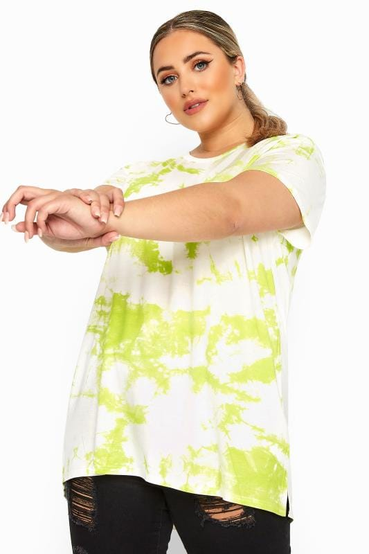 Plus Size Beauty LIMITED COLLECTION Lime Green Tie Dye T-Shirt