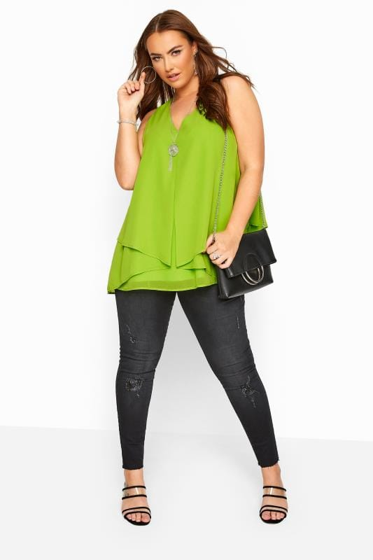 YOURS LONDON Lime Green Layered Cami Top