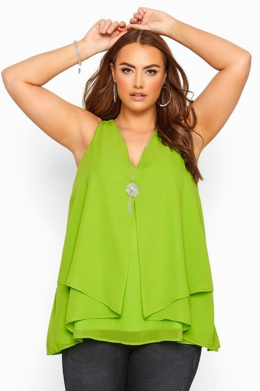 Plus Size Vests & Camis YOURS LONDON Lime Green Layered Cami Top