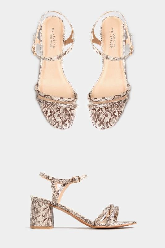 Wide Fit Heels LIMITED COLLECTION Stone Snake Print Double Strap Heeled Sandals In Extra Wide Fit