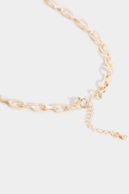Lange Halskette mit großen Kettengliedern - Goldfarben