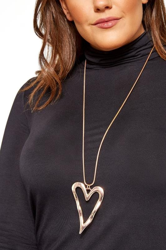 Große Größen Schmuck Halskette mit Herz-Anhänger - Roségoldfarben