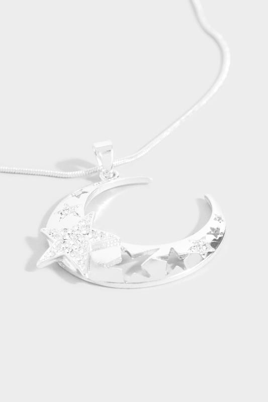 Silver Long Moon Pendant Necklace