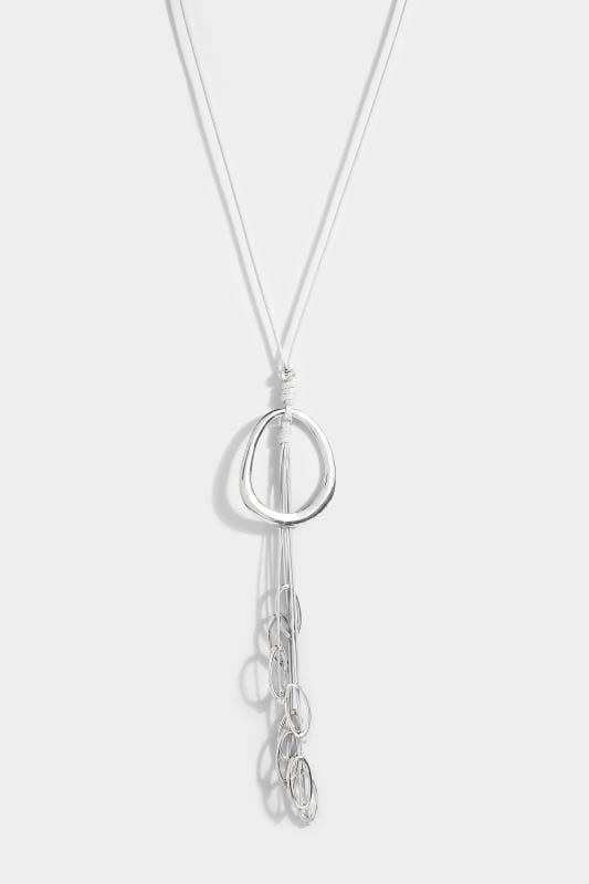 Silver Long Pendant Cord Necklace