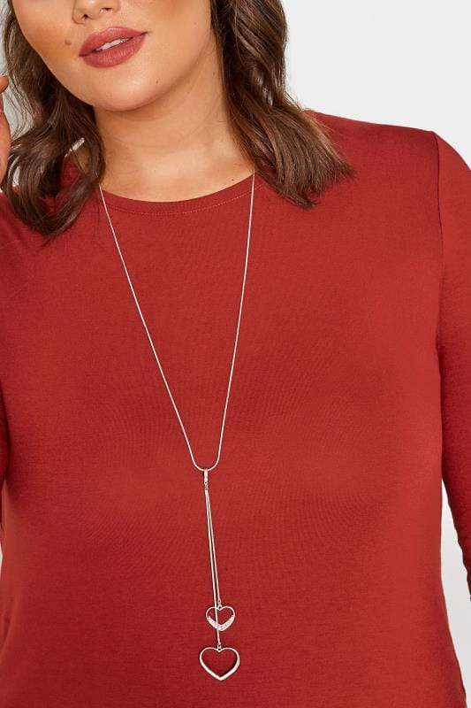 Plus Size Jewellery Silver Long Double Heart Pendant Necklace