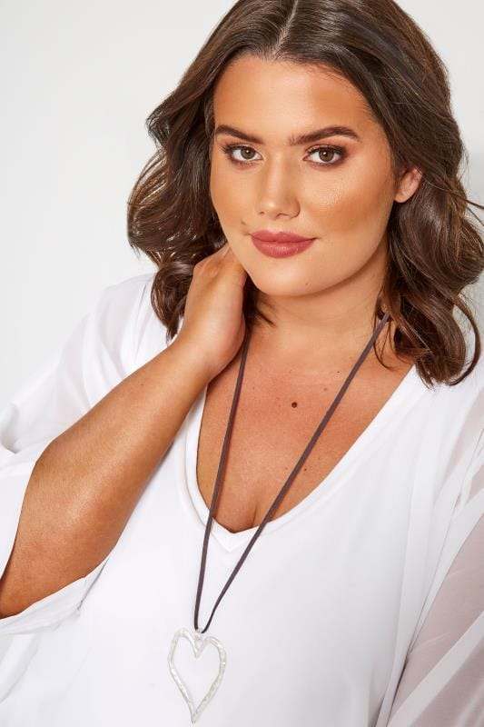 Plus Size Jewellery Silver Long Heart Pendant Necklace