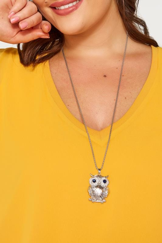 Plus Size Jewellery Silver Long Owl Pendant Necklace