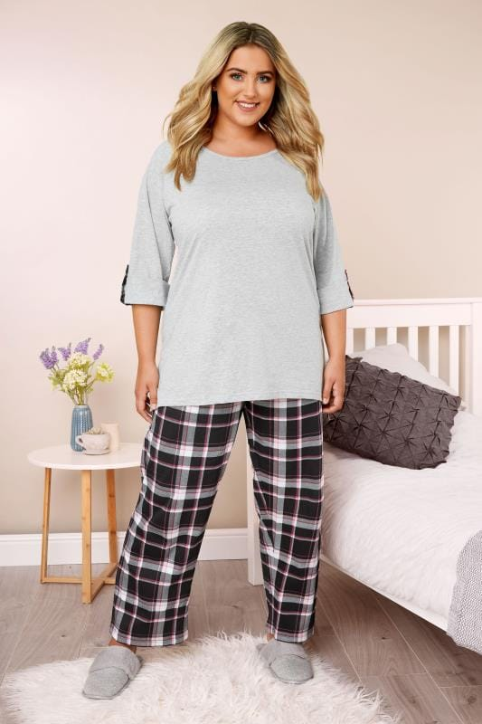 Plus Size Pyjamas Black, Grey & Pink Check Pyjama Set