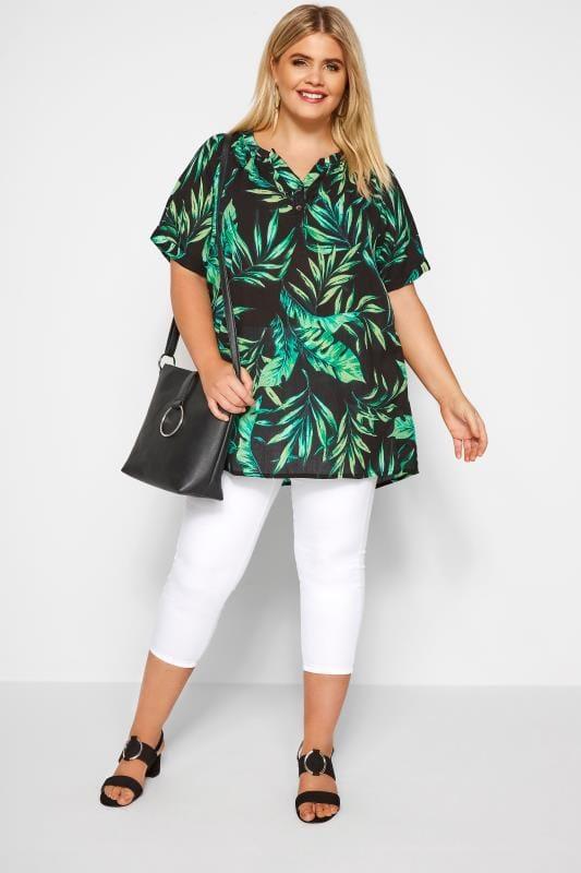 Green Palm Print Top
